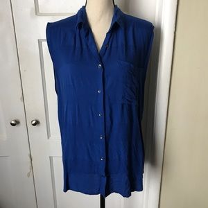 💙 Royal Blue Sleeveless Button Down Shirt